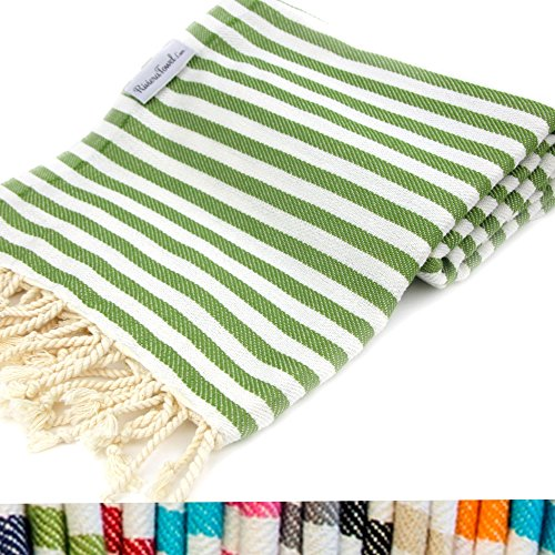 Striped Turkish Towel Peshtemal in 100% Cotton for Beach Bath Swimming Pool Yoga Pilates Picnic Blanket Scarf Wrap Hammam Fouta Turkish Bath Towels Beach Towel (Olive Green) (Pic Nic Towel compare prices)