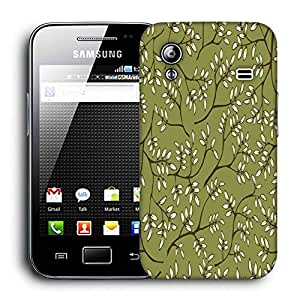 Snoogg White Leaves Pattern Green Printed Protective Phone Back Case Cover For Samsung Galaxy ACE S5830