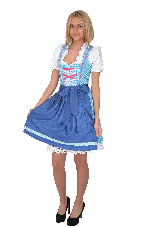 Dirndl Trachtenkleid 3tl. Blau Weiß Kariert günstig bestellen