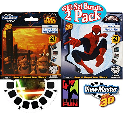 "Basic Fun View-Master Classic 3D Adventures 3 Reel Refills ""Spider-Man"" & ""Star Wars"" Gift Set Bundle - 2 Pack"