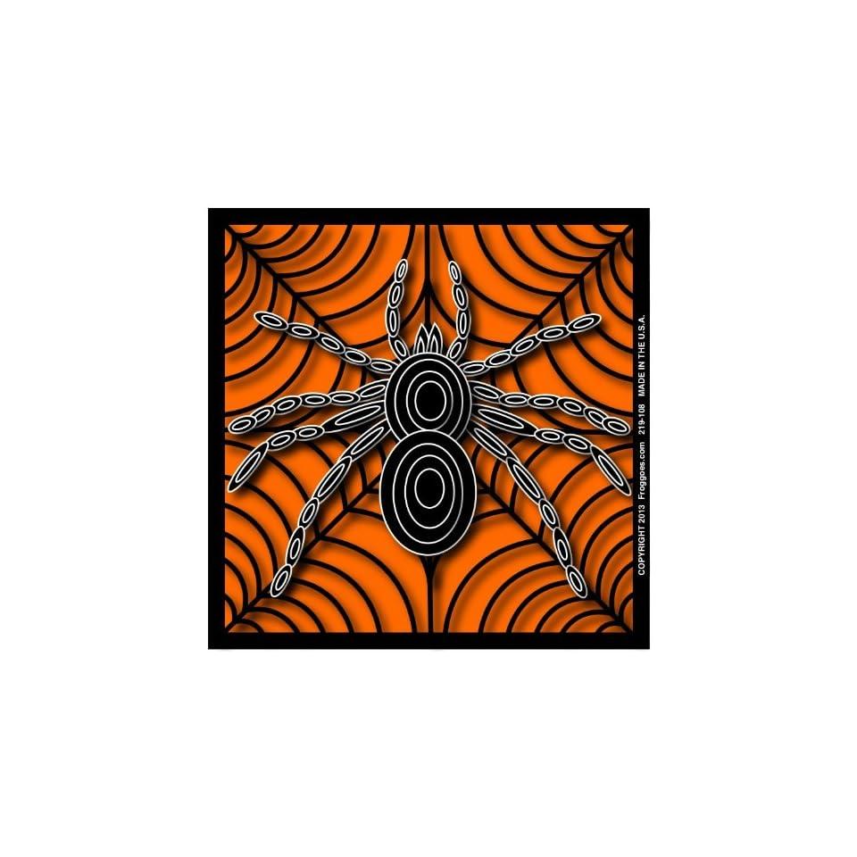 SPIDER   BLACK/ORANGE   STICK ON CAR DECAL SIZE 3 1/2 x 3 1/2   VINYL DECAL WINDOW STICKER   NOTEBOOK, LAPTOP, WALL, WINDOWS, ETC. COOL BUMPERSTICKER