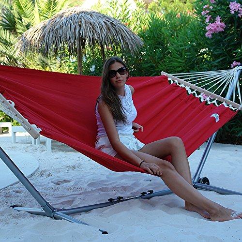 Lola Stabhängematte Aruba Elegance rot uni wetterfest kaufen