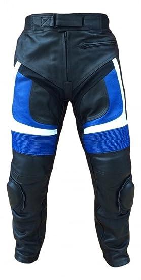 Pantalon de moto en cuir noir et bleu avec protection