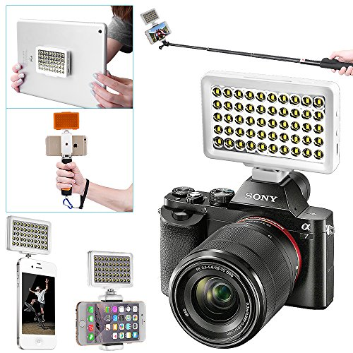 Bestlight® Commlite 50 LED 6000k Portable Multi-Functional MINI LED Video Light (with Cellphone Holder 2-3inches) for Cellphone, Pad, DSLR and Interchangeable Lens Digital Camera, such as iPhone 6 plus/6/5s/5/4s/4/Samsung Galaxy S6 Edge/S6/S5/S4/S3/A7/A5, Galaxy Note 4/3/2, Ipad Air/2, Ipad Mini/2, Canon/Nikon/Sony/Olympus/Fujifilm and Other Camera with Standard Hot Shoe (White)