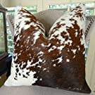 Decorative Cowhide Throw Pillow, Brown White Cowhide Pillow, High End Cowhide Sofa Pillow, Brazilian Cowhide Accent Sofa Pillow 16605