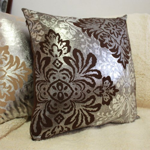 Diaidi Damask Hold Pillow Cushion European-Style Flower Square Throw Pillow With Core, 19.6*19.6 inches