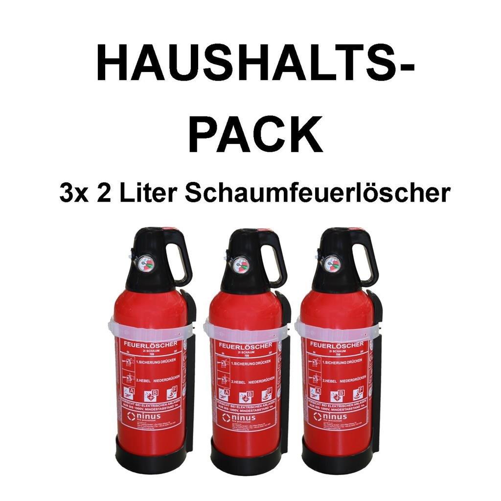 3x Fettbrandlöscher für den Haushalt ninus ABF Feuerlöscher Schaum 2 Liter mit Halterung, Manometer und kompakt ergonomischem Ventil  HaustierBewertungen und Beschreibung