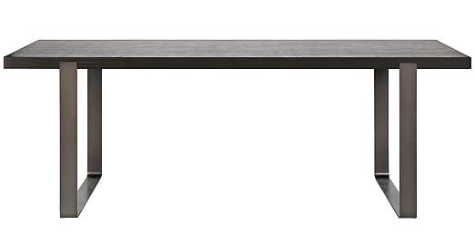 Table à manger en chêne coloris noir huilé - Dim : H 76 x L 200 x P 90 cm - PEGANE -