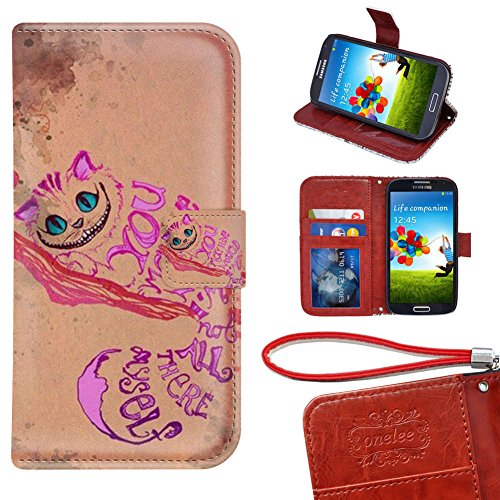 Samsung Galaxy S3 Mini Wallet Case, Onelee - Alice in Wonderland Cheshire Cat Smile Face Jasmine Premium PU Leather Case Wallet Flip Stand Case Cover for Samsung Galaxy S3 Mini with Card Slots (Samsung S3 Mini Case Cat compare prices)