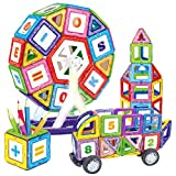 WTOR 知育玩具 磁石ピース 105ピース マグネットおもちゃ モデルDIY 磁石付き積み木 立体 パズル 図形つみき 子供用 磁石 積み木 創造力と想像力を育てる お誕生日、進学お祝いプレゼント (105ピース)