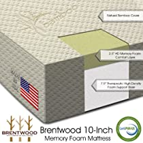 "Hot Sale Brentwood 10"" HD Memory Foam Mattress - 100% Made in USA - CertiPur Foam - 25-Year Warranty, Natural Bamboo Cover, King Size"