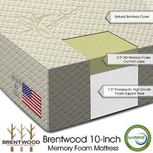 "Amazon Brentwood 10"" HD Memory Foam Mattress 100%"