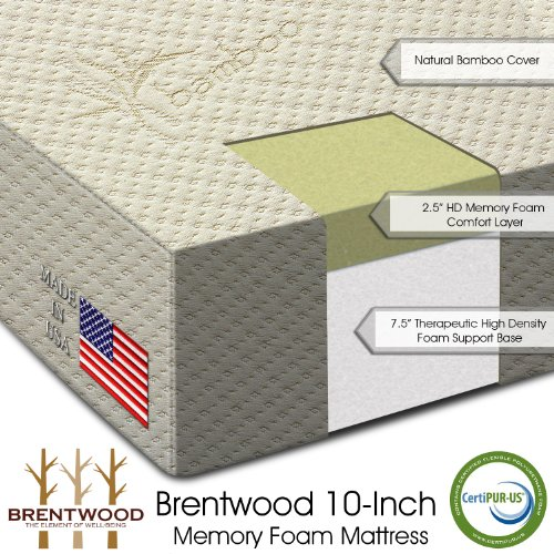 "Brentwood 10"" Hd Memory Foam Mattress - 100% Made In Usa - Certipur Foam - 25-Year Warranty, Natural Bamboo Cover, Rv Short Queen Size 60 X 75 X 10 front-286772"