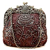 Icelove Hynes Eagle Boutique Antique Seed Bead Rose Pattern Clutches and Evening Handbag (Coffe)