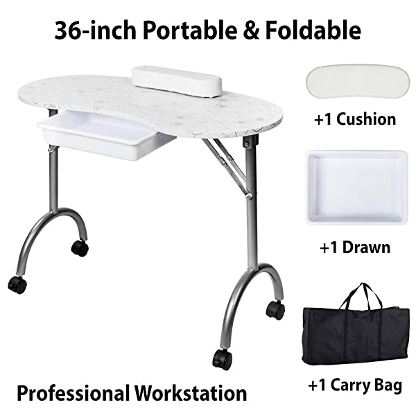 36'' Portable & Foldable Nail Manicure Table | Nail Technician Desk Workstation Manicure Table with Carrying Case and User Manual