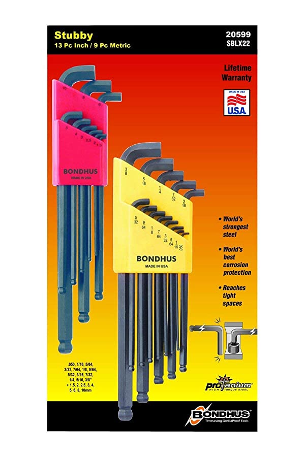 Bondhus 20599 0.050-3/8-Inch and 1.5-10mm Stubby Ball End Hex Key Double Pack (2-Pack) (Tamaño: 2 Pack)