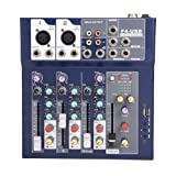 fosa Mixing Console Mini 3-Channel Sound Card Mixing Console Digital Audio Mixer 3-Band EQ USB U Disk AUX Output 100-240V Powered for Home Studio Recording DJ Network Live Broadcast Karaoke(Black) (Color: Mixing Console)