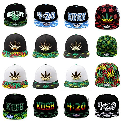 Cap2shoes-Marijuana-Weed-Leaf-Cannabis-Snapback-Hat-Cap