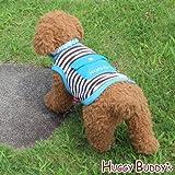 ドッグウェア 犬服 ペット洋服 クールウェア☆保冷剤1個付き☆ポケット付きボーダータンクトップ(ブルー)Mサイズ