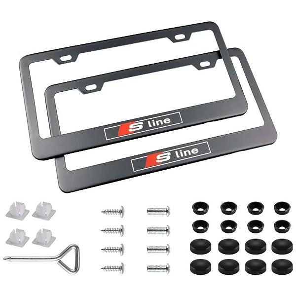 2 x Audi S Line SLINE Stainless Steel Black License Plate Frame Rust Free W//Caps
