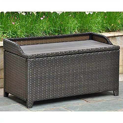 Barcelona Wicker Resin Storage Bench Finish: Black Antique image