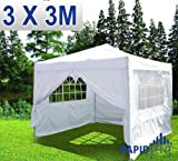 RAPIDTENT 3M x 3M WHITE GAZEBO 100% WATERPROOF PARTY TENT WITH 4 SIDES, MARQUEE OUTDOOR CANOPY