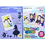 Fujifilm Instax Mini Instant Film 10 Sheets × 2 Packs (Disney Alice in Wonderland & Stained Glass) [Komainu-Dou Original Packege]