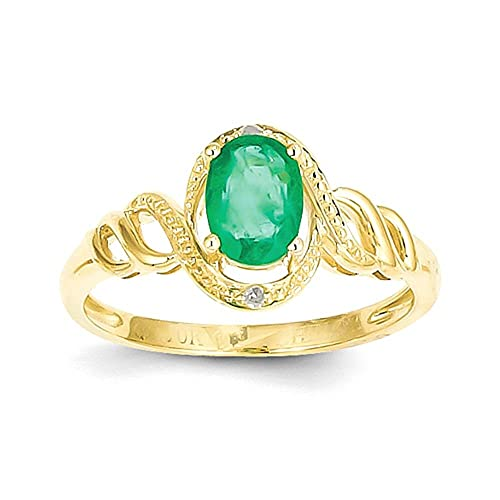 10K Emerald Diamond Ring