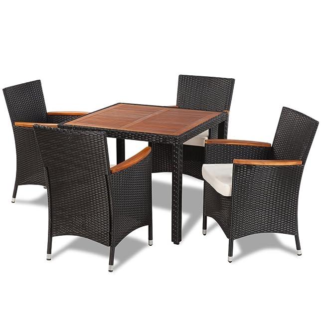 Anself set tavolo sedie da giardino in polirattan 4 sedie e tavolo con piano legno