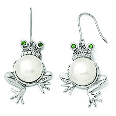 Sterling Silver Green CZ Freshwater Cultured Pearl Frog Dangle Earrings