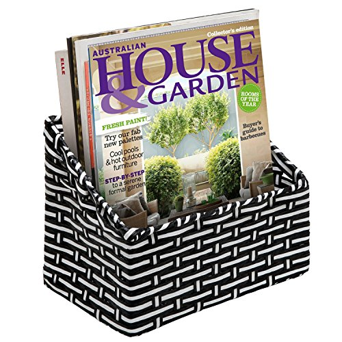 Black & White Woven Multipurpose Wall Mountable Storage Basket / Magazine Holder / Remote Control Caddy