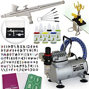 Complete Temporary Tattoo Airbrush Set - 6 Color 100 Stencil Kit