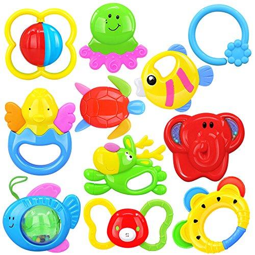 Linshop 10 PCS Baby Hand Rattle Toy Newborn Color Box Suit