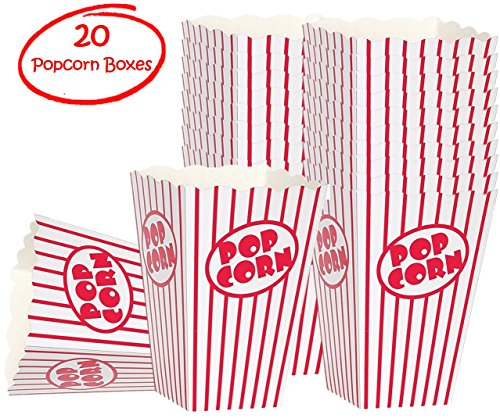 Movie party Popcorn boxes - Striped White and Red popcorn boxes - Great for movie night or movie party theme, theater themed decorations or Carnival party circus box etc. (20 Count) (Red And White Popcorn Bags compare prices)