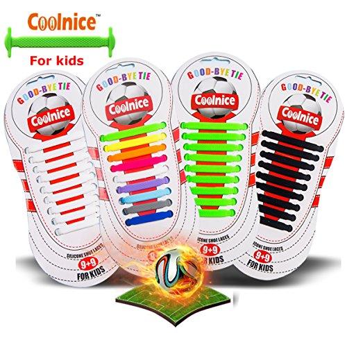Coolnice Sport lacci elastici No Tipo Tie - forma piatta, Macchia resistente Arcobaleno colore, silicone ambientali sicuro - Bambini