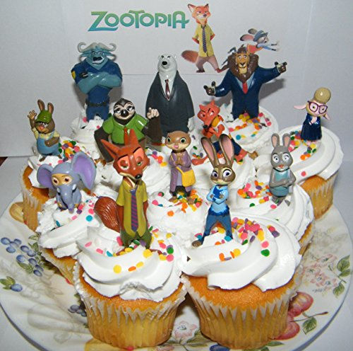 Disney Zootopia Deluxe Mini Cake Toppers Cupcake Decorations Set of 13 Figures with Officer Judy Hopps, Nicke Wilde Fox, Cheif Bogo, Duke Weaselton and Much More!
