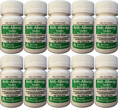 Anti-Allergy Antihistamine Chlorpheniramine Maleate 4 mg Generic for Chlor-Trimeton Allergy 100 Tablets per Bottle 10 PACK Total 1000 tablets (Chlorpheniramine 1000 compare prices)