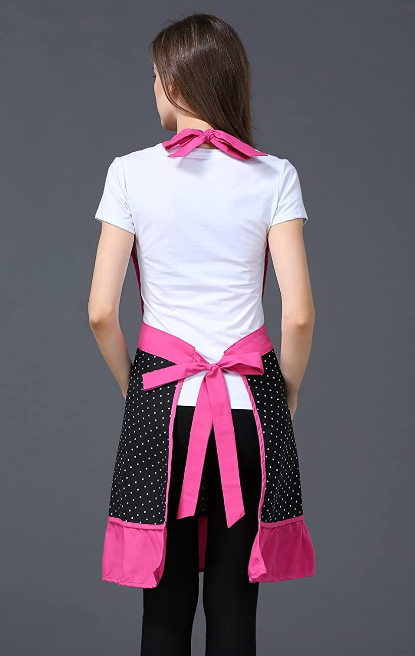 Cute Lovely Black Lace Aprons with Pocket for Women Girls Vintage Aprons Kitchen Cooking Apron 4