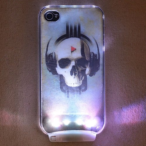 Magicsky Cartoon Headphones Skull Pattern Sense Flash Light Led Color Changing Hard Case Cover + Free Screen Protector + Free Stylus Pen For Apple Iphone 4 4S 4G