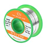WYCTIN Lead Free Solder Wire Sn99.3-Cu0.7 0.6mm with Rosin Core for Electrical Soldering and DIYs (Color: Silver, Tamaño: solder wire)