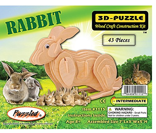 3-D Wooden Puzzle - Small Rabbit -Affordable Gift for your Little One! Item #DCHI-WPZ-M004A