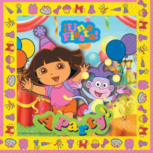 Dora the Explorer NEW DESIGN party pack for 8, 8 cups, 8 plates, 16 napkins, 1 tablecover