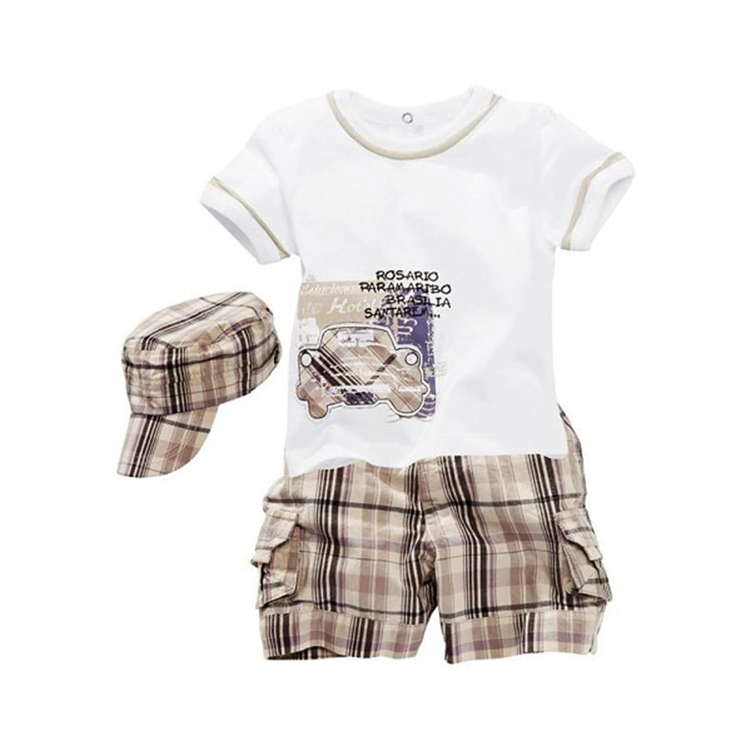 PanDaDa Baby Boys T-shirt Sets Short Sleeve Plaid Shorts Pants Hat Kids Outfits