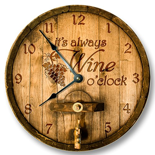 Its always WINE o'clock wall clock - wooden cask lid printed image - rustic cabin bar home decor (Wine Barrel Wall Decor compare prices)