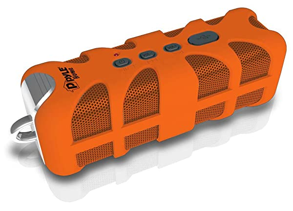 Upgraded Pyle Splash SoundBox Waterproof Bluetooth Speaker, Portable Wireless Outdoor, Enhanced Bass, USB, 3.5mm AUX, IPX4 Splashproof Speaker, Water