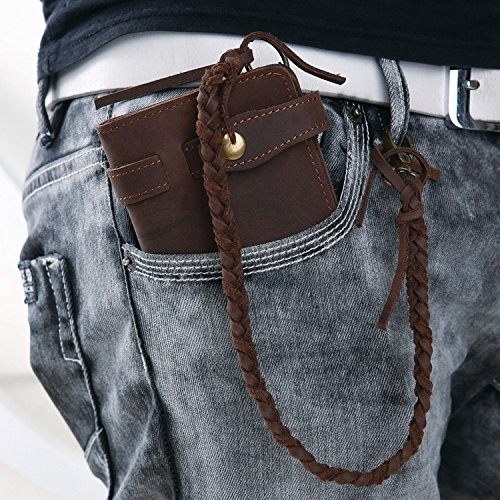 Horse Noise - Long Biker Wallet From Crazy Horse Leather with Leather Security Chain Vintage 5