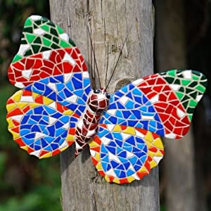 Multi Coloured Mosaic Butterfly Garden Wall Art Ornament by Gardens2you