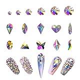 AB Crystal Rhinestones Set (1680+100pcs), Round & Multi-Shape AB Glass Rhinestone, Flatback AB Crystals for Nails, Clothes, Face, Jewelry   Aurora Borealis