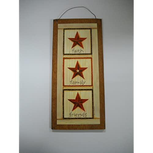 Burgundy Barn Star Faith Family Friends Country Wall Art Sign Primitive Decor