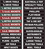 Adjustable Magnetic Toolbox Labels fits all Craftsman, Snap-on, Mac, Matco & Cornwell steel tool chest. Now you can organize all your tool box drawers, never search every toolbox drawer for a tool again. Thickest Magnets at the best price.